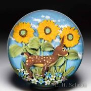 Clinton Smith 2020 Deer And Sunflowers Glass Art Paperweight