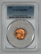 1950 Lincoln Wheat Cent Penny 1c Pcgs Ms 66 Red Mint State Unc 455