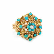 Turquoise Diamond Cluster Ring Vintage 18k Yellow Gold Large Dome Jewelry 7.5