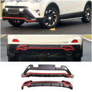 Fit For 2016-2018 Toyota Rav4 Black+red Front Rear Skid Plate Bumper Board Guard