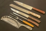 Lot Of 6 Different Kitchen Knives, Fork, Steel And Antique Crumb Pick Up Pan