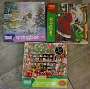 3 Lot New Sealed Springbok Christmas Puzzles 1000 Pc Jigsaw Made In Usa