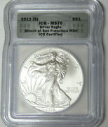 Icg Ms70 2012s American Silver Eagle .999 Silver Dollar No Mint Mark On Coin