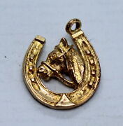 Vintage 9ct Yellow Gold Charm Of A Horse Shoes And A Horse Head