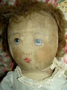 Antique 1904 Very Large Hand Painted Cloth Babyland Rag Doll All Original
