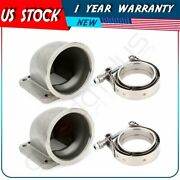2 X 3.5 Vband 90 Degree Cast Elbow Adapter Turbo Exhaust Flange Clamp For T4 T3