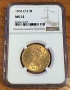 1904-o 10 Gold Liberty Head - Ngc Ms 62 - High Quality Scans 5009