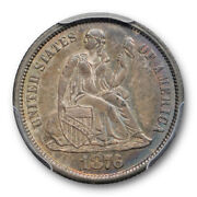 1876 Cc 10c Seated Liberty Dime Pcgs Ms 63 Uncirculated Carson City Mint Toned