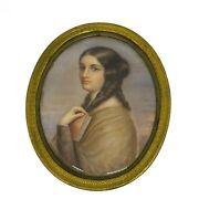 19th C. Portrait Miniature Of A Woman Holding A Book