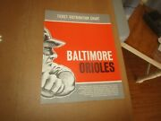 Rare C. Late 1950's To 1960 Baltimore Orioles Baseball Ticket Distribution Chart