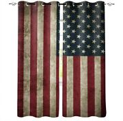 Vintage American Flag Window Curtains Kitchen Cafe Bedroom Thicken Panel Drapes