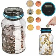 1.8l Clear Digital Piggy Bank Coin Savings Counter Lcd Counting Money Jar Change