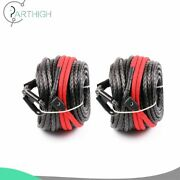 95and039 X 3/8 Synthetic Winch Rope Line 20500lb For Atv Utv Suv Jeep Truck 2pcs
