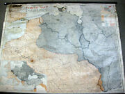 Antique Wwi School Pull-down Map Of Western Front Great World War Liberty Digest