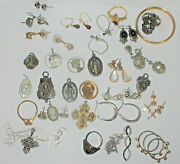 Estate Jewelry Lot Many Sterling Wearable Earrings, Necklace, Religious  B2