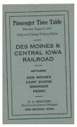 1941 Des Moines And Central Iowa Rr System Interurban Time Table Card Camp Dodge