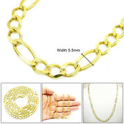 10k Solid 5.5mm Yellow Gold Figaro Link Chain Necklace 16andrdquo To 30andrdquo Inches