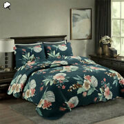 100 Cotton Lightly Quilted Coverlet Set Tropical Dark Teal Queen