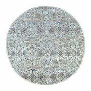 8'1x8'1 Peshawar Willow Tree Design Shiny Wool Round Hand Knotted Rug R67156