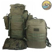 Military Backpack 2in1 Transport System. Army Rucksack 80l + 20l Bug Out Bag.