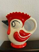Ditmar Urbach Collectible Rooster Ceramic Pitcher Art Deco 1930s Czechoslovakia