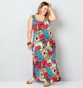 Avenue Tropical Floral Maxi Dress Turquoise/pink Womens Plus Size 22/24 Nwot