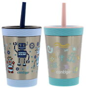 Contigo Spill-proof Kids Stainless Steel Tumbler W/straw, 12oz Robot And Bugs