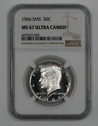 1966 Sms Kennedy Half Dollar 50c Ngc Certified Ms 67 Unc - Ultra Cameo 002