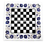 Marble Gaming Chess Table Top Lapis Floral Arts Inlay Mosaic Hallway Gifts H1453