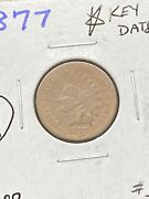 1 The Key Date 1877 Indian Head Cent Penny Brown Rare Us Coin