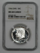 1966 Sms Kennedy Half Dollar 50c Ngc Certified Ms 68 Mint Unc - Cameo 001