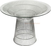 43andrdquo Round Glass Top Dining Conference Table Stainless Steel Spoke Wire Rod Base