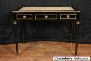Regency Black Lacquer Desk And Chinese Chair Set Chinoiserie