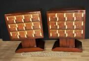 Pair Art Deco Cubist Chests Of Drawers Cabinets Furniture
