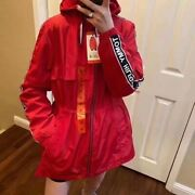 New Ladiesand039 Long Windbreaker Size S-xl Color Red Draw Cord Waist
