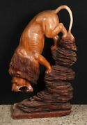 French Hand Carved Lion Statue Cat Tiger Art