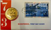 1973 Us Treasury Bicentennial First Day Of Issue Medal And Stamp Set