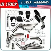 Stainless Exhaust Header Manifolds Cold Air Intake Kit For 01-04 Gmc Yukon