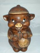 Vintage Cookie Jar Pig With Sack Of Cookies From Great American Pottery Company