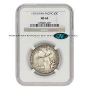 1915-s 50c Silver Pan-pacific Commemorative Half Dollar Ngc Ms64 Cac Certified