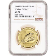1996 Australia Gold Lunar Series I Year Of The Mouse 1 Oz 100 - Ngc Ms70