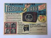 1951 Television Bank Ad Hopalong Cassidy Roy Rogers Milton Berle More