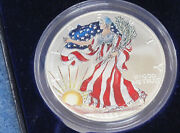 1999 American Silver Eagle Painted With Display Case And Coa E1932