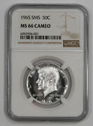 1965 Sms Kennedy Half Dollar 50c Ngc Ms 66 Mint State Unc - Cameo 001
