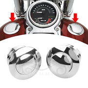 2x Chrome Flush Pop Up Fuel Tank Gas Cap Cover For Harley Dyna Breakout Fatboy