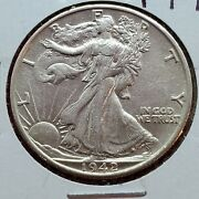 1942 S Walking Liberty Coin Xf Details Cleaned Shiny Nice Look Ww2 Era Coin