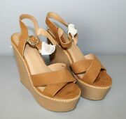 Asos Womens Talia High Open Toe Wedges Color Tan Size Uk 4 Us 5 New [gs G6]