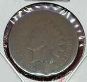 1876 Indian Head Copper Bronze Cent Penny Coin Choice Ag About Good / Good