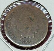 1876 Indian Head Copper Bronze Cent Penny Coin Choice Ag About Good
