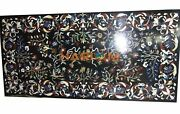 5and039x3and039 Marble Black Dinner Table Top Fine Floral Semi Precious Inlay Decor B313
